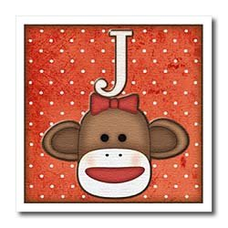 Dooni Designs Monogram Initial Designs - Cute Sock Monkey Girl Initial Letter J - Iron on Heat Transfers