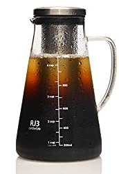 Airtight Cold Brew Iced Coffee Maker and Tea Infuser with Spout - 1.0L Ovalware RJ3 Brewing Glass Carafe with Removable Stainless Steel Filter from Ovalware