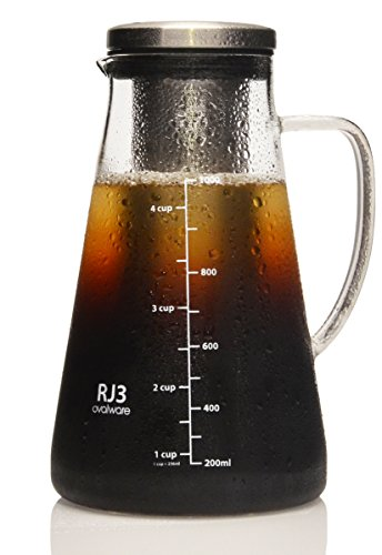 Ovalware-RJ3-Airtight-Cold-Brew-Iced-Coffee-Maker-and-Tea-Infuser-with-Spout-10L-Brewing-Glass-Carafe-with-Removable-Stainless-Steel-Filter