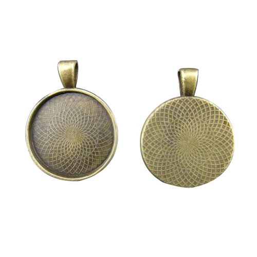 Janecrafts 20Pcs Lovely Round Shaped Pendant Metal Trays With Flange Rim-- Antique Bronze -- Pendant Blanks Alloy Cameo Bezel Cabochon Settings 25Mm