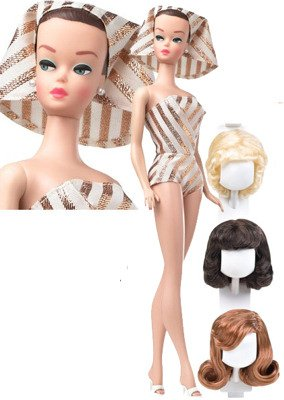 Barbie-Collectors-Edition-My-Favorite-Barbie-1963-Vintage-Reproduction-Barbie-and-her-Wig-Wardrobe-mit-3-Percken