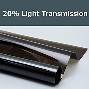 20% shade color 12 Inches by 10 Feet Window Tint Film Roll, for privacy and heat reduction by PROTINT WINDOWS