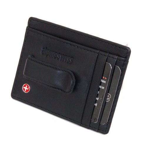 Alpine Swiss Fine Lambskin Leather Hand Crafted Mens Money Clip mini Wallet ID Credit Card Holder Front Pocket Wallet with Spring Clip - Black Comes in a Gift Bag