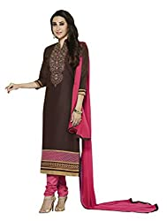 Ewows Women's Cotton Embroidered Churidar Suit Dress Material (DRLKKH4354_Coffee)