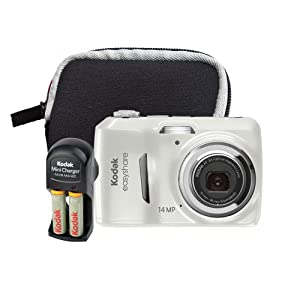Kodak EasyShare C1530 14 MP Digital Camera with 3x Optical Zoom and 3.0-Inch LCD (Includes Rechargeable Batteries, Battery Charger, Camera Bag)(White Bundle)
