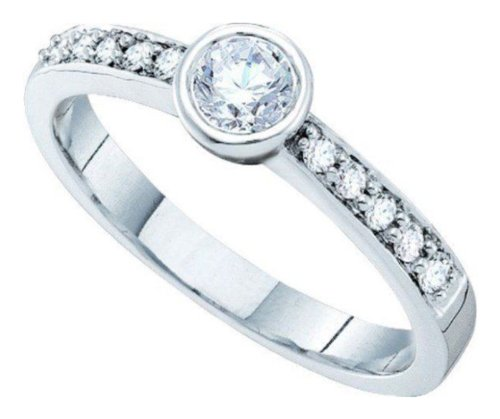 0.39 Cttw 14K White Gold Diamond Round Solitaire Engagement Ring Bezel Set (Sizes 3-11)
