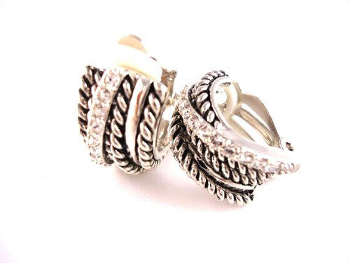 Silvertone Twisted Metal Clip-On Earrings