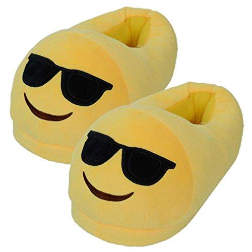 Ularma Emoji Peluche Pantofola Uomo E Donne Creative Pantofole Scarpe Da Casa Inverno (GIALLO4)