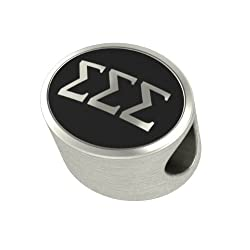 Sigma Sigma Sigma Black Antique Sorority Bead Charm Fits Most European Style Bracelets. Check to See If We Have Your University Bead Also. In Stock Ships Fast.