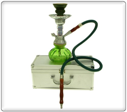 10″ 1 Hose Pumpkin Hookah w/ Case Green