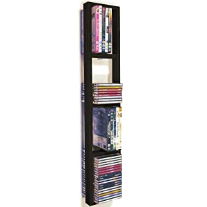 iris wall mounted cd dvd blu ray storage shelf black brown kitchen home. Black Bedroom Furniture Sets. Home Design Ideas