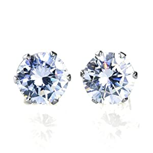 Bling Bling Sparkling AAA CZ Cubic Zirconia Stud Earrings, Hypoallergnic, No Allergy, Nickel-free, Lead-free, Durable and Strong, Authentic by JewelrieShop