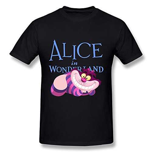 ZEKO Men's T Shirt Alice In Wonderland Cheshire Cat Black