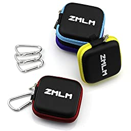 ZMLM Mini Carrying Case with Carabiner for Flash Drive, Headphone, USB Cable 4-Pack in 4 Colors