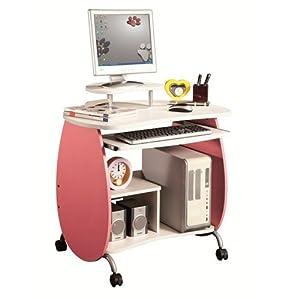 Children's Computer Desk Pink and White by Techni Mobili