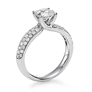 Diamond Engagement Ring in 18K Gold / White Certified, Round, 1.52 Carat, J Color, SI1 Clarity