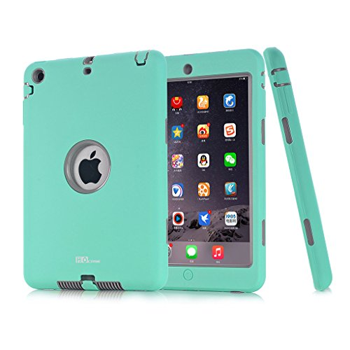 Mini iPad Case, Hocase Ruggged High-impact Dual Layer Hard Rubber Protective Case Cover for Apple iPad mini 1 / 2 / 3 - Mint Green / Grey (Ipad Mini Hard Cover compare prices)