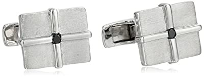 Men's Sterling Silver Matte Square Cuff Links with Black Diamond (1/10 cttw)