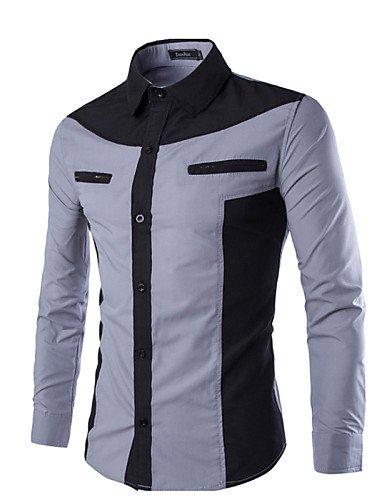 SU Color Block Lavoro Degli Uomini / Camicia Formale, Poliestere A Maniche Lunghe, Vino, 2Xl