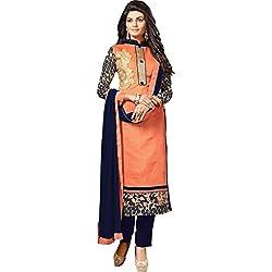 Sky Up Women's Chanderi Embroidered Orange Salwar Suit