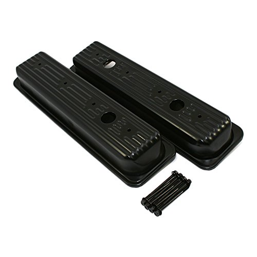 Assault Racing Products A97029812BK Chevy Small Block Black Center Bolt Valve Covers Stock Style SBC 305 350 5.0 5.7 (Valve Cover Small Block Chevy compare prices)