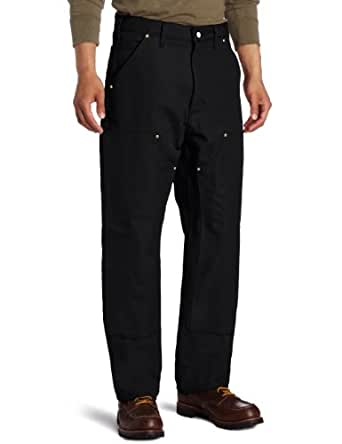Carhartt Men's Double Front Dungaree Flannel Lined,Black,30 x 30