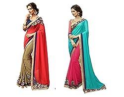 Pragya creations Women's Chiffon Saree (Prag30_Multi)-pack of 2