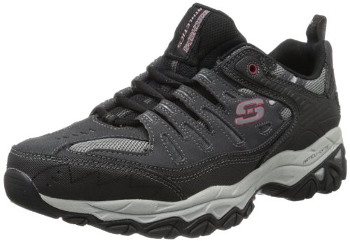 Skechers Sport Men's Afterburn Memory Foam Lace-Up Sneaker,Charcoal/Black,11 M US