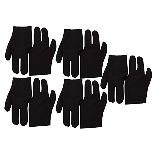 New Black Stretch Velvet 3 Fingers Gloves For Billiard Cue Pool Pack Of 10