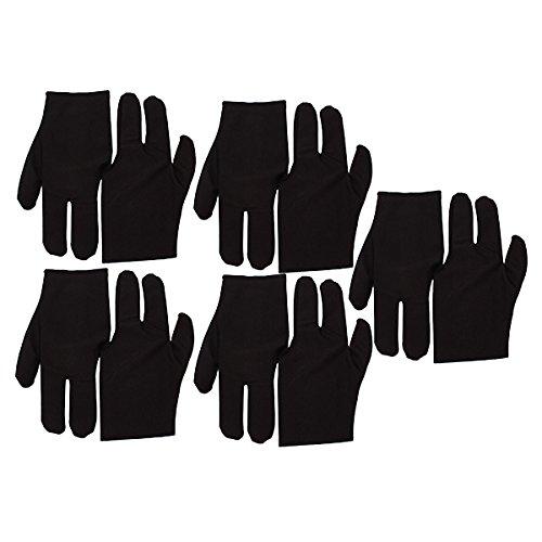 Black Stretch Velvet 3 Fingers Gloves For Billiard