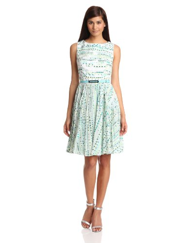 Adrianna Papell Women's Zigzag Burnout Pleated Dress, Green, 6