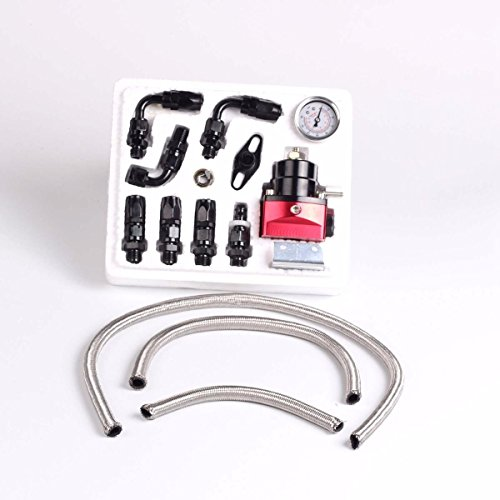 Universal Black Adjustable Fuel Pressure Regulator Kit Oil 0-160psi Gauge -6AN (Regulator Fuel Universal compare prices)