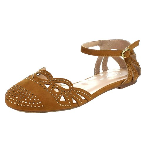 Forever Bella-03 Women'S New Hot Fashion Round Toe Ankle Strap Flat Sandals, Color:Tan, Size:9 front-416462