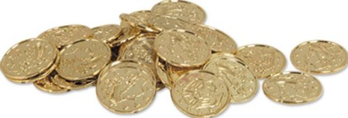 Plastic Coins (Gold) Party Accessory (1 Count) (100/Pkg)