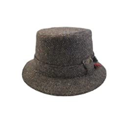 Hanna Hats Tweed Walking Hat-Brown Tweed-Made in Ireland-Ships Today