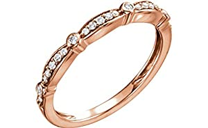 Diamond Stackable Anniversary Band, 14k Rose Gold (1/8 Cttw, H+ Color, SI Clarity), Size 7