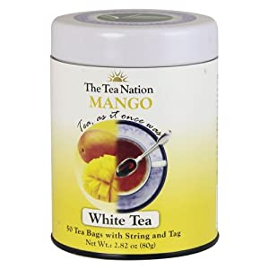 The Tea Nation Mango Tea, White Tea, 50-Count Tea Bags (Pack of 3)