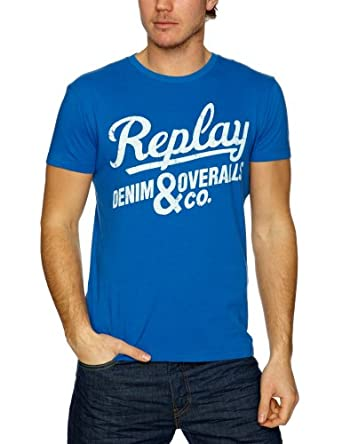 Replay M6019 Printed Men's T-Shirt Mid Blue XXX-Large
