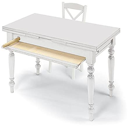Table with 2 extensions of 40 cm, classic style, solid wood and MDF - Meas. 140x80 100% made in italy
