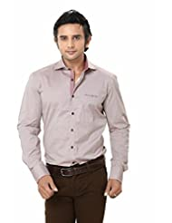 Mens Shirt - Party Wear Shirt - Solid Cotton Shirts - Gray Color - By Zorro