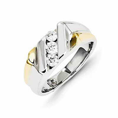 Solid 14k Two tone Gold Diamond Mens Wedding Ring Band (1/2 cttw) (9mm)