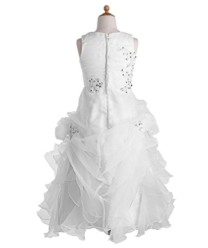 FAIRY COUPLE Little Girl's Ruffled Applique Flower Girl Communion Pageant Dress K0073 6 White