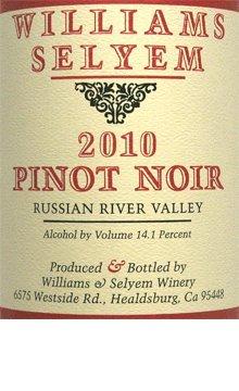 2010 Williams-Selyem Pinot Noir Russian River Valley 750Ml