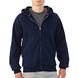 Fruit of the Loom Best Collection™ Men\'s Fleece Full Zip Hood XX-Large JNAVY/CHARCOAL HEATHER