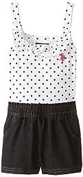 U.S. POLO ASSN. Little Girls\' Polka Dot Print Jersey Top and Denim Short Romper, Black, 2T