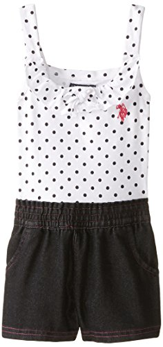 U.S. POLO ASSN. Little Girls' Polka Dot Print Jersey Top and Denim Short Romper, Black, 4 Embroidered Jersey Romper
