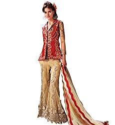 SK Creation Designer Red and Cream Plazzo with Lehenga style Partywear Salwar suit