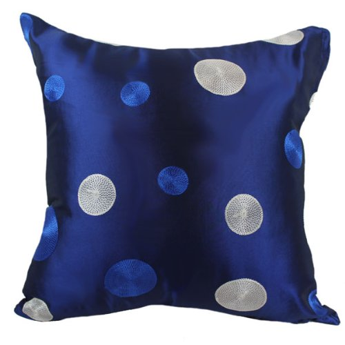 """Dark Blue And White Dot 18""""X18"""" Decorative Silk Throw Pillow Cover front-988356"""