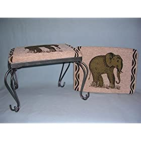 Elephant Tapestry Foot Stool