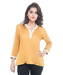 Lal Chhadi Girls 3/4 Sleeve Rayon's Gold Short Top